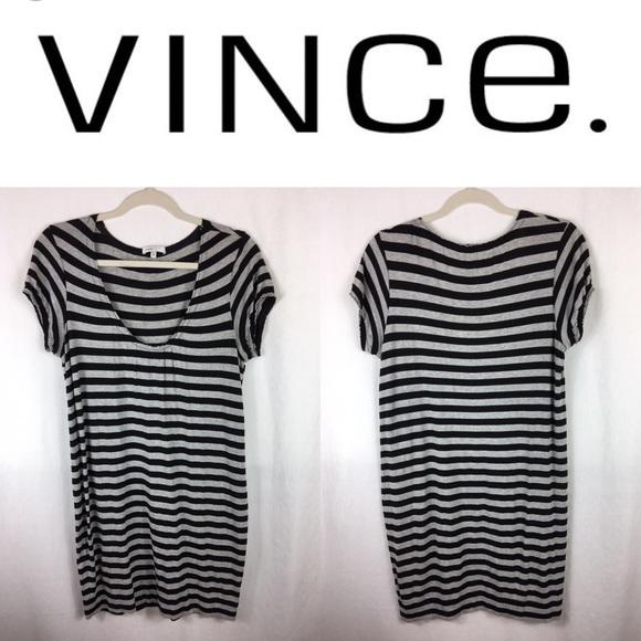 0249ea8d69ec Vince Dresses | Black And Grey Striped Tshirt Dress Medium | Poshmark